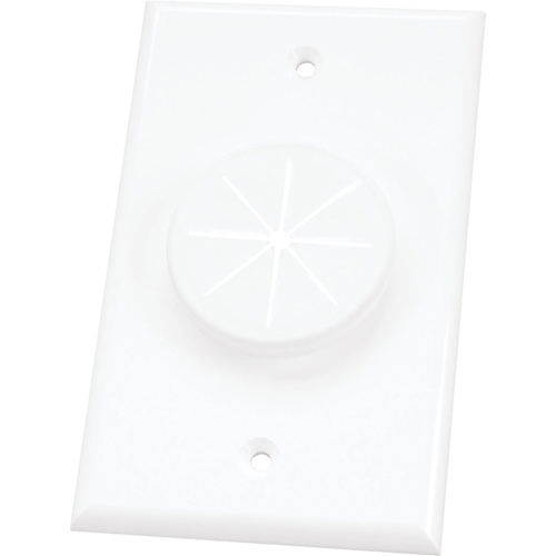 1-Gang Wireport Plate w/Grommet White