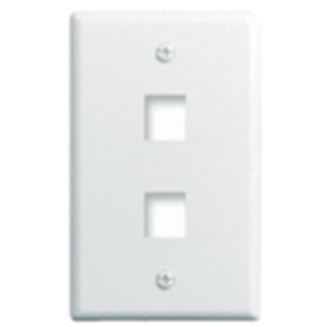 """Single Gang Wall Plate, 2-Port, Wht"""