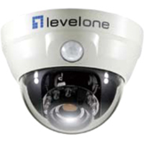 LEVELONE FCS-3051 10/100 POE IPPERPDOME NTWK CAM PIR DAY/NIGHT/INDOOR