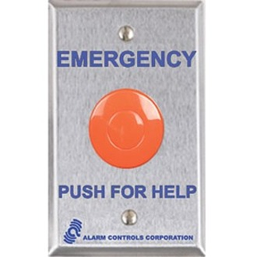 LATCHING PANIC BUTTON 1 N/O CONTACT STANLESS STEEL