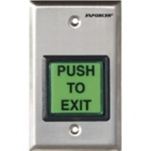 ALUMINATED GREEN 2' SQUARE PUSH TO EXIT BUTTON