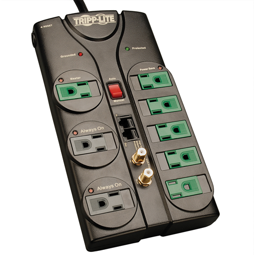 8-outlet, 8-ft cord, 2880 joule, 1-line tel/network & 1-line coaxial protection - ECO-SURGE Energy-Saving Surge Suppressor