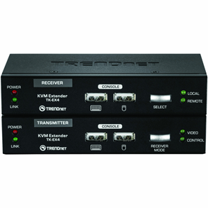 TRENDnet KVM Extension Kit, model TK-EX4, extends keyboard, video, and mouse controls for distances of up to 100 m (328 ft.). No software installation required?simply connect the transmitter and receiver for full KVM controls. Eliminate the time it takes