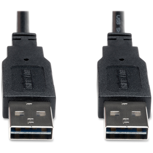 Reversible USB 2.0 A To A, 6', Hi-Speed Cable, Black