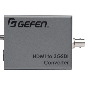 The Gefen HD-3G-C converts audio and video from HDMI to 3G-SDI and single link HD-SDI. Resolutions up to 1080p Full HD and audio formats up to 8 channels of LPCM are supported. This product is fully compatible with the Gefen Syner-G software suite. The Ge