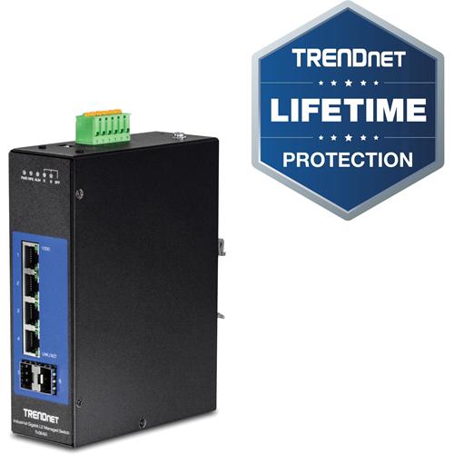 TRENDnet 6-Port Industrial Gigabit L2 Managed DIN-Rail Switch