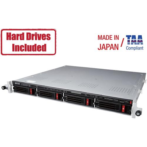 TeraStation 6400RN 1U RM 4-Bay 8TB (2 x 4TB NAS HD) Partially Populated Rackmount NAS with 2 open drive bays. iSCSI, 10GBE, RAID, SNAPSHOT.