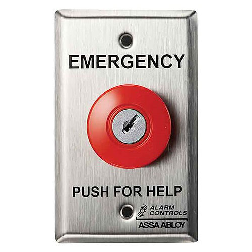 Alarm Controls KR-1 Latching Operator Key Reset 1 N/O Pair 1 N/C Pair Stainless Steel Plate Emergency Panic Station