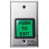 """Alarm Controls TS-2 Request to Exit Station, French """"POUSSEZ POUR SORTIR"""", Stainless Steel (TS-2FR)"""