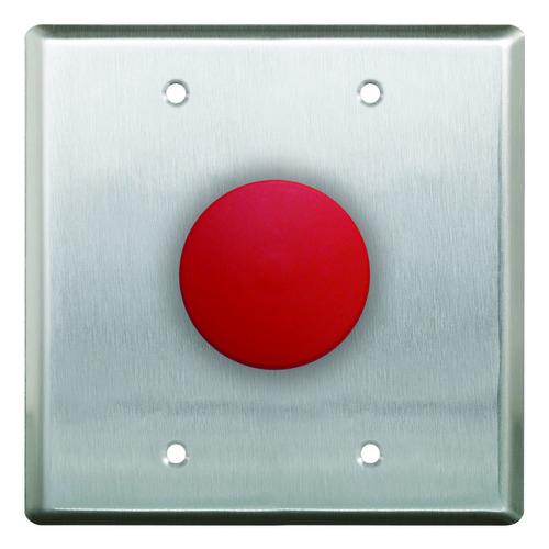 "1 5/8"" Mushroom Red Push Button D.Gang S/S Fp N/O,"