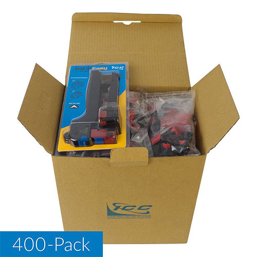 ICC IC107L6VBK CAT6 RJ45 Keystone Jack for EZ Style, 400-Pack with JackEasy Tool, Black