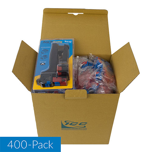 ICC IC107L6VBL CAT6 RJ45 Keystone Jack for EZ Style, 400-Pack with JackEasy Tool, Blue