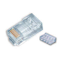 Rj45 (8p8c) CAT6 2pc. Round-Solid 3-Prong. 25/Clam
