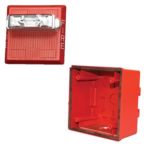 Eaton Wheelock MTWP-2475W-FR KIT MT Multitone Horn Strobe, Wall, Weatherproof, 24V, 75CD, FIRE, Red (Includes W-IOB)